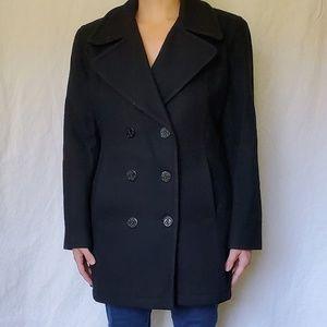 Women's Black Wool Peacoat